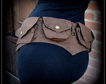 Festival pocket belt bag ~ vegan canvas utility belt w/ pockets ~ steampunk brass brown, black, purple, teal canvas ~ men or women ~ cosplay