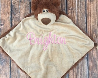 Personalized Bear Security Blanket, Teddy Bear Security Blanket, Embroidered Cuddle Blanket, Monogrammed Snuggle Blanket, Baby Shower Gift
