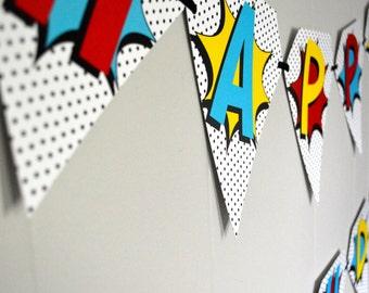 Retro Superhero Birthday Banner