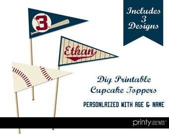 Printable Vintage Baseball Cupcake Toppers