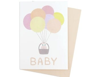 Bunny Baby Greeting Card (Recycled Card, Blank Inside)