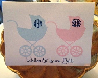 twins stationery, notes for twins, girl and boy twin notes, pink blue notes, carriage notes, twin notes, twins stationary, twins