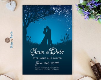 Printed Save the Date cards | Starry Night Wedding Save the Dates Personalized | Bride and groom save the date | Cheap save the date