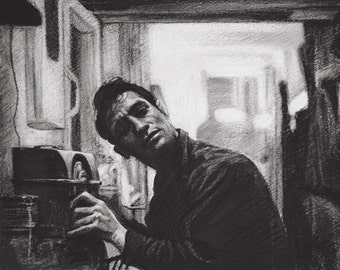 Jack Kerouac Beat Writer Drawing Fine Art Print 8x10 or 8.5x11 inches
