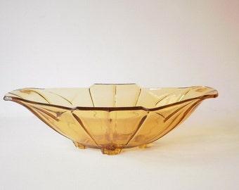 Vintage Glass Serving Bowl, Art Deco Depression Glass, Pressed Glass, Amber Glass, Sowerby Chevron Pattern