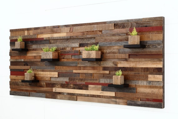 wood wall art with floating wood shelves made of