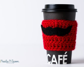 Red crochet cup cozy, crochet mug cozy with black mustache felt applique