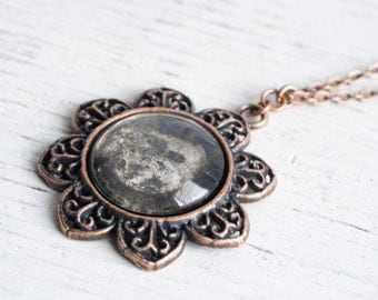 Hand Silvered Glass Pendant Necklace, Antique Finish Copper, Distressed Silver