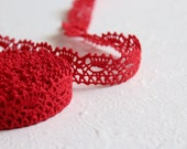 Red linen lace trim - christmas decoration