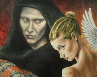 Angel and Demons art - Original art - Pencil Illustration -  Good and Evil art - Wall artwork - Religious art - Original drawing - Angel art