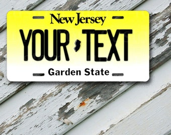 """License Plate New Jersey Customizable 6"""" x 12""""  Aluminum Vanity License Plate"""