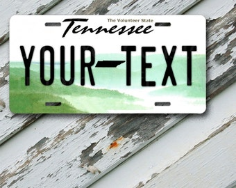 """License Plate Tennessee Customizable 6"""" x 12""""  Aluminum Vanity License Plate"""