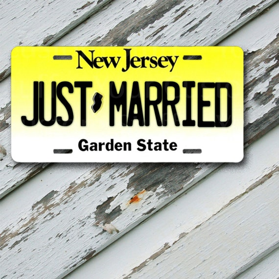 License Plate New Jersey Just Married 6 X 12