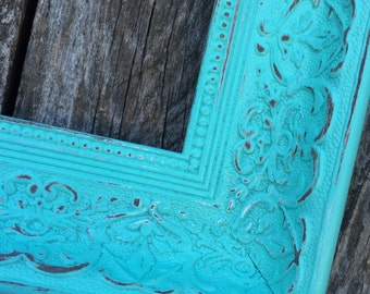 Turquoise 8x10 Frame, Ornate Picture Frame, Shabby Chic, Wide, Chunky Frame, Distressed , #1556 TurQ , Los angeles