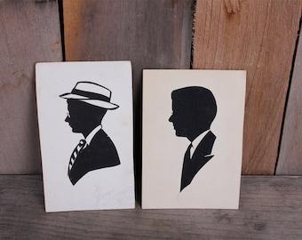 Pair 1940s Vintage Souvenir Mens Paper Cut Silhouettes Man Glasses Suit Tie Portrait Venice Pier