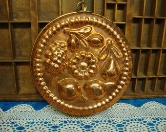 Large Copper Decorative Jello Mold