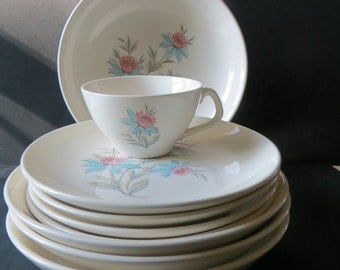 Mid Century Steubenville Fairlane Blue Pink Flowers Dishes 9 Pieces