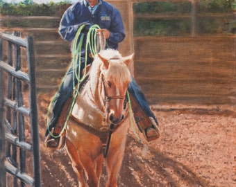 """Western art; rodeo art.  Roper and palomino horse, 12 X 16"""", oil on linen."""