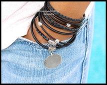 BLACK Tibetan Boho LEATHER Wrap Bracelet - Adjustable Natural Leather Triple Wrap Bohemian Style Bracelet w/ Blank stamping Coin Charm - 722