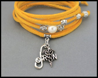 "RN Registered Nurse Boho Pearl Choker Wrap Bracelet Anklet Lariat Necklace - 40"" Long Micro Fiber Faux Suede Cord - MORE COLORS - 116"