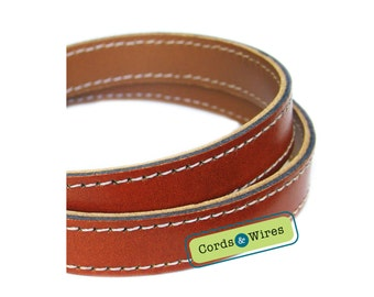 CT16000 Burnt umber Stitched Leather - 0.60 meter x 16.00mm