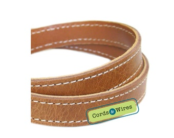 CT16002 Vintage Brown Stitched Leather - 0.60 meter x 16.00mm