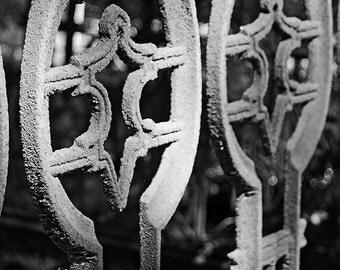 Rusty Fence in a Cemetery, Bonaventure Cemetery (Savannah, Georgia), Black and White, Gothic, Rust, Aged, Ornate, Dark, Fine Art Photography