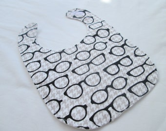 Glasses and Houndstooth Print Bib- Cotton and Flannel, Baby Gift, Baby Bib, Baby Shower Gift- Ready to Ship