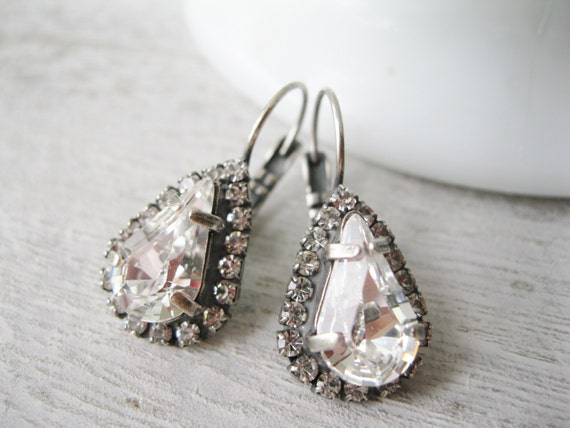 Crystal Halo Teardrop Earrings Rustic Wedding Jewelry Bridesmaid Earrings Vintage Style Antique Silver Swarovski Elements Clear