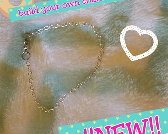 NEW! build your own charm bracelet, basic starter. Silver or Gold
