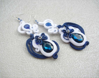Bridal Jewelry, Soutache Earrings, Blue White, Bridal Earrings, Wedding Jewelry, Statement Jewelry, Dangle Earrings, Navy Blue