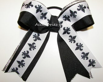 Bulk Price, Fleur de lis Bow, Cheer Bow, Black White Yellow Gold Ribbon Streamers, Football Cheerleader School Spirit, Gymnastics Dance Bows