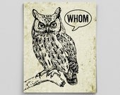 Owl Decor Typographic Print Grammar Whom Owl Vintage English Poster Teacher Gifts for Teachers Who Whom English Gifts Gag Gift Office Decor