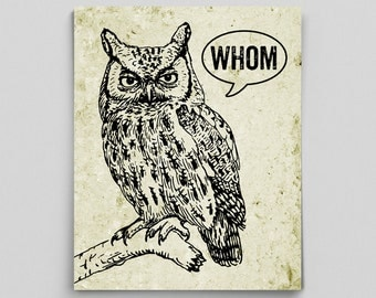Owl Decor Typographic Print Grammar Whom Owl Vintage English Poster Teacher Gifts for Teachers Who Whom English Gifts Gag Gift Office Decor