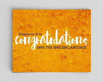 Grammar Print Congratulations Proper Spelling English Teacher Gifts for Teachers Typographic Print English Gifts Gag Gift Office Decor