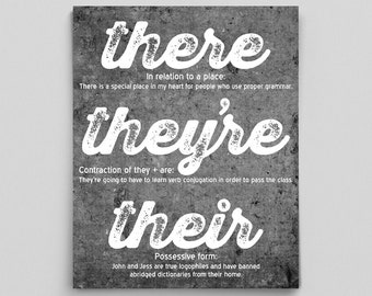 Grammar Rule Poster Grammar Poster There They're Their English Print Teacher Gifts for Teachers Typographic Print English Gifts Office Decor