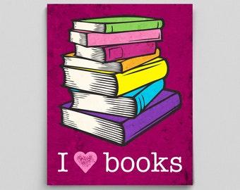 English Teacher Print Librarian Poster I Love Books Gift Teacher Gifts for Teachers Book Lover English Gifts Gag Gift Office Decor
