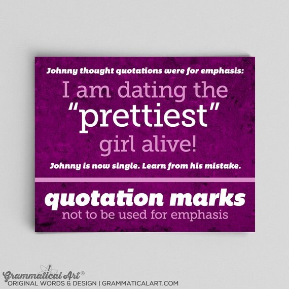 Grammar Print Quotation Usage Definition English Print Teacher Gifts for Teachers Typographic Print English Gifts Gag Gift Office Decor