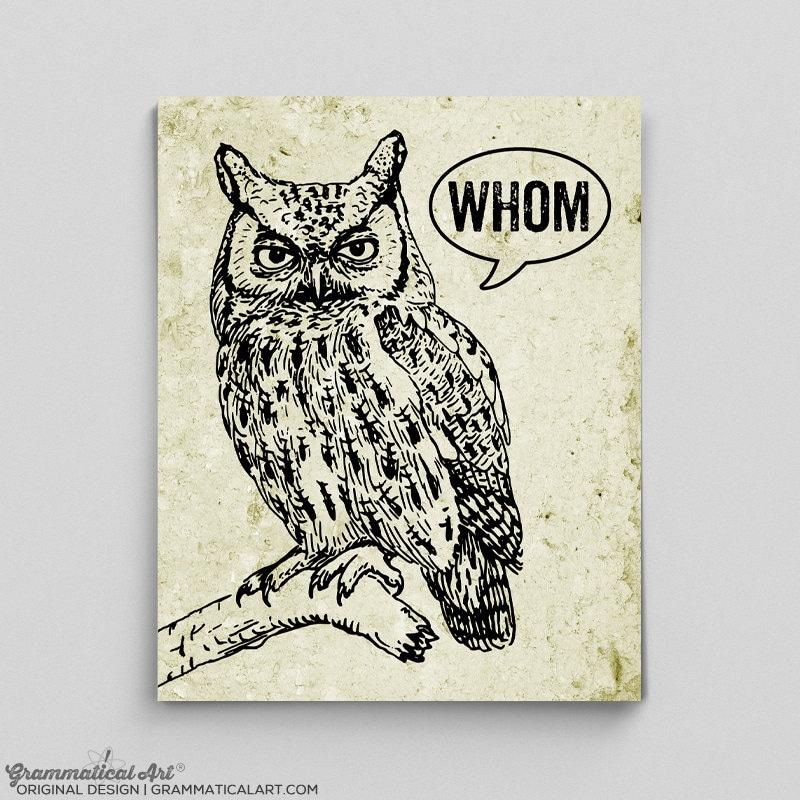 Owl Decor Typographic Print Grammar Whom Owl Vintage English