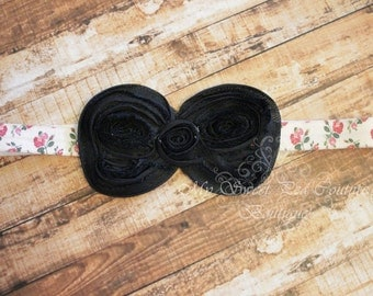 Large Black Bow Headband- Bow Headband- Baby Headband- Newborn Headband- Infant Headband- Headband- Girls Headbands- Black Headband