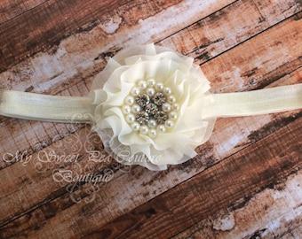 Ivory Sparkle Couture Chiffon Ruffle Flower with Pearls & Rhinestones- Baby Headband- Girl Headband- Baby Girl Headband