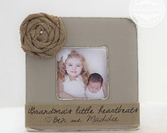 Grandma Grandmother Personalized Gift Picture Frame 'Grandma's Little Heartbeats' Grandparents Grandpa Grandfather