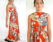 Vintage 70's Grecian Parrot Pattern Dress // Bright Orange-Red // Small