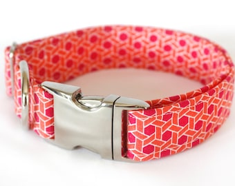 "Geometric pink and orange lattice patterened dog collar - ""Vibrant Festivity"""