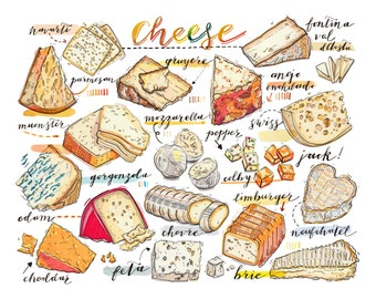 Cheese print. illustration. Kitchen decor. Food art. gourmet. Cheese lover. Fromage.