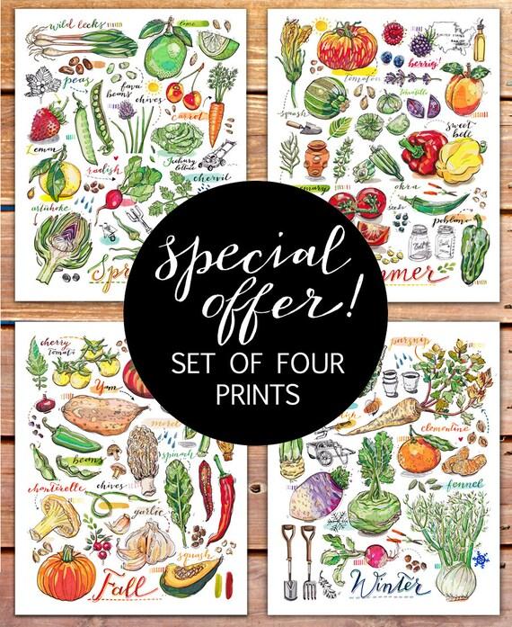Garden art print set kitchen decor four seasons food art for 4 season decoration