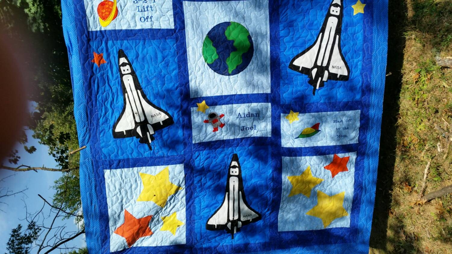 Space bedding custom boy bedding twin full queen girl for Space shuttle quilt