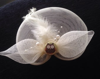 Upcycled Cream Fascinator with Pearls, Feathers & Owl