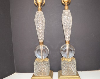 Fabulous Heavy Cut Crystal Table Lamps - Set of 2 - Tall Stacked Crystal Lamps with Ormolu Mountings - Hollywood Regency - Paris Apartment