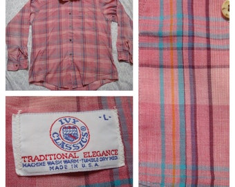 Vintage Retro Men's Ivy Classics Pink Green Purple Blue Plaid Buttonup Shirt Long Sleeve Large Made in USA